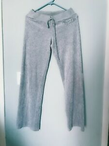 Pre-own Juicy Couture Velour Soft Track Sweat Pants Teal Cream Size S Gray Color