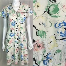 Vintage Charleston Rags Women's USA Floral Small Button 90s Grunge Shirt Dress