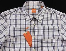 Men's HUGO BOSS ORANGE White Blue Plaid Shirt Medium M NWT NEW $125+ CalifoE