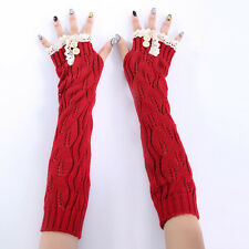 Women Lace Knit Fingerless Gloves Winter Button Arm Warmer Xmas Arm Warmer Gift