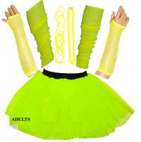 WOMEN'S SEXY NEON UV TUTU COSTUME HEN PARTY 80'S FANCY DRESS ACCESSORIES YELLOW