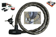 1.6M 160cm Steel Security Cable Lock & Loud Alarm for Motorcycles & Scooters