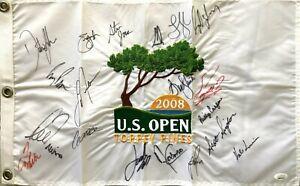 19 champs signed 2008 US Open golf flag Dustin Johnson Casper Spieth Trevino JSA