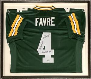 Brett Favre Signed Jersey #4 GB Packers Auto MVP SB Champs Insc Framed HOF JSA