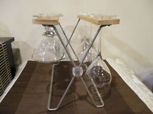 Wood/Metal Table Top Wine Glass Holder, 6 Glasses  (1pc)