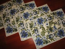 TRADEWINDS IMPORTS BLUE GREEN FLORAL JACOBEAN (4) PLACEMATS 13 X 19 TABLE