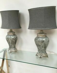 Pair of Grey Large Regency Table Lamps  79cm height