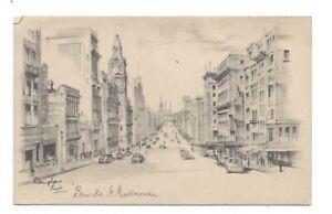 Vintage art postcard Bourke Street, Melbourne, Australia by Douglas Pratt, 1945