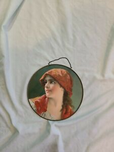 Vintage Victorian Era Woman in Red Hair Scarf Flue Cover Belgium