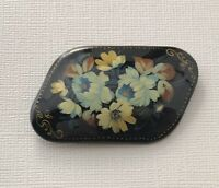 Vintage  hand Painted Russian Lacquer Flower Brooch