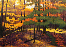 "Gordon Mortensen ""Wellesley Woods"" Signed and #ed Art Woodcut fall leaves forest"