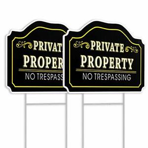 Private Property Sign with Stakes 2 Pack 12 x 9 No Trespassing Yard Sign Warning