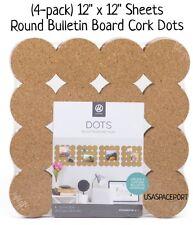"4-pack Natural CORK Bulletin BOARD DOTS 12""x12"" ROUND TILES Self-Stick Sheet Set"