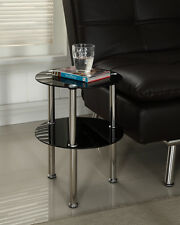 Black or Clear Glass 2 Tier Side End Table Chrome Finish Modern Design Coffee