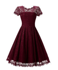 UK Womens Ladies Vintage Lace Rockabilly Swing Skater Party Evening Retro Dress
