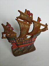 Vintage Cast Iron Sailing Ship Book End / Doorstop