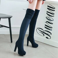Womens Zip High Heel Block Platform Over Knee Ankle Boots Party Shoes UK 1.5-8