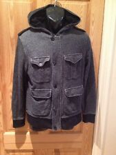 """Topman, size small. (36""""-38) Navy, hooded sweatshirt. Zip, and button fastening"""
