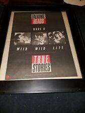 Talking Heads Wild Wild Life Rare Original Radio Promo Poster Ad Framed!