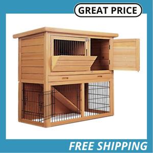 i.Pet Rabbit Hutch Wooden Chicken Coop Guinea Pig House 2 Storey Run Cage 86cm