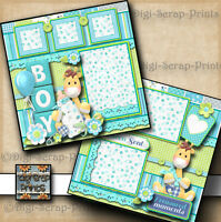 BABY BOY ~  2 premade scrapbook pages paper piecing layout for album DIGISCRAP