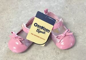 """NEW IN BOX - 2 """" OSH KOSH """" PRETTY PINK SHOES - FAUX PATENT LEATHER & METALIC"""