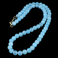 246.50 CTS NATURAL UNTREATED RICH BLUE CHALCEDONY ROUND SHAPE BEADS NECKLACE