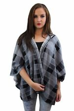 New Womens Ladies  Hooded Checkered Tartan Shawl Wrap Check Grey Blanket Cape
