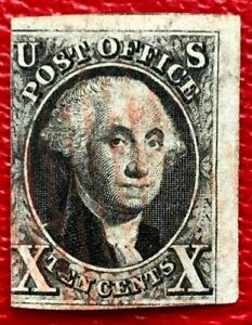 1847 US Stamps SC#2 10c Washington imperf. Red Canceled CV:$775