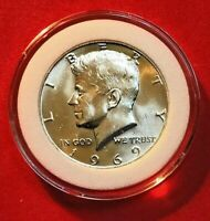 1969 D KENNEDY HALF DOLLAR 40% SILVER BU IN PREMIUM COIN CAPSULE BLAST WHITE
