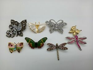 Bundle x8 Butterfly Dragonfly Insect Themed Brooches Mixed Colourful Rhinestones