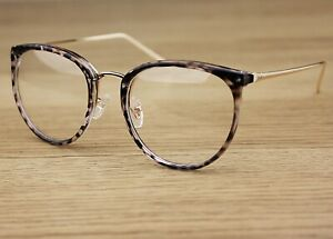 Oval Clear Lens Fashion Glasses Slim Metal Frame Vintage Retro  Womens Mens