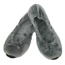 Women's Slippers Dearfoams Plush Velour Ballerina Small 5-6 Gray House Shoes NWT