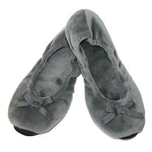 Women's Slippers Dearfoams Plush Velour Ballerina Small 5-6 Gray House Shoes NWT
