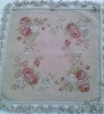 "24"" NeedlePoint-PetitPoint Roses of France Pillow Shams with Tassels DM-7B Khaki"