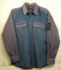 Vintage Bugle Boy Shirt Mens M Green Plaid L/S Button Down Retro Zip Pockets