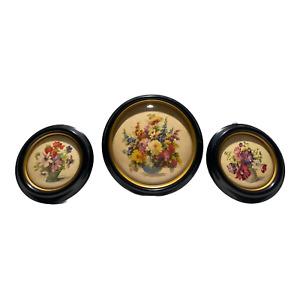 Vintage Floral Prints Set 3 Glass Curved Fronts & Round Plastic Frames
