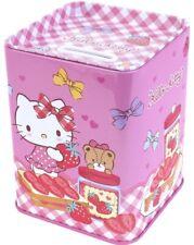 Hello Kitty Cat Tin Coin Bank Still Piggy Money Can Case Box / Pencil Pen Holder
