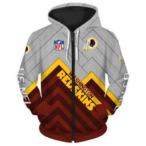 Washington Redskin Hoodie Football Hooded ZIPPER Sweatshirt Sports Jacket Gifts