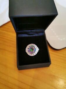 Mystic TOPAZ & DIAMOND silver Ring 3carat beautiful unique jewellery Gemstone