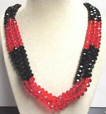 """Vintage 70's Long 27"""" Glass Crystal Bead Necklace Multi 3 Strand Red Black"""