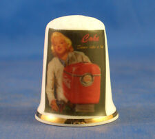 Birchcroft China Thimble -- Marilyn Monroe with Coca Cola -- Free Dome Gift Box