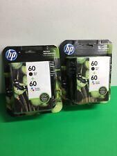 New HP 60 Black 60 +Tri Color  Ink Cartridge N9h63fn  Exp Jan 2018