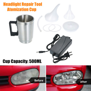 Headlight Lens Polish Repair Tool Restoration Car Atomizing Cup Restore Kit 12V
