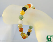 Multi-Color Jade Beads Bracelet w Chinese 福 (Happiness) Clasp in 14k Yellow Gold