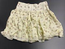 CHLOE MINI Logo & Butterfly Print Gathered Pastel Yellow Skirt with Silk 8 Years