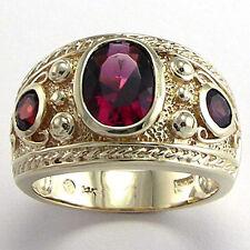 Men's 14k Soild Gold Three-Stone Garnet Ring Sizes 7 to 14  #R861.