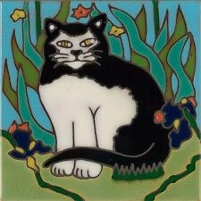 Handpainted ceramic tile Tuxedo Cat painting trivet backsplash mosaic install