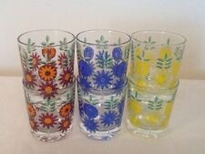 Set 6 Vintage French Shot Glasses France 60s Retro Flower Power Liqueur floral