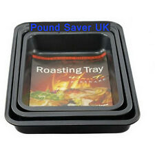 New 3pc Large Non Stick Black Oven Roasting Baking Tray Pan Dish Rack Tins Set